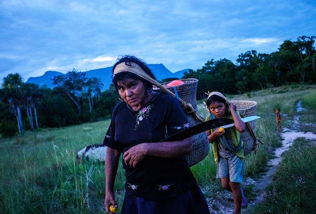 Индианки идут от ручья в поселке Ла Эсмеральда, верховья Ориноко. Несмотря на величину поселка, водопровода тут нет, и стирать все приходят к небольшому ручью с чистой водой.