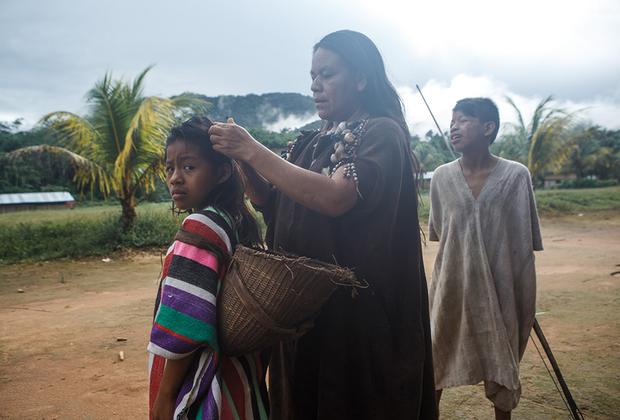 Индейцы тикуна — многочисленное племя, живущее на берегах Амазонки в Колумбии и Бразилии. Самый знаменитый ритуал тикуна называется «пелазон»: его проводят, когда одна из девочек племени достигает полового созревания. Ритуал многоярусный: сначала девочка находится в изоляции — раньше ее сажали в отгороженный сегмент общинного дома-малоки на полтора-два года, сейчас этот срок не превышает трех месяцев.  <br><br> Сама церемония длится в среднем три дня, и один из ее этапов — танцы в костюмах духов леса и гор. Раньше церемония завершалась буквальным вырыванием волос девочки всех до единого — от этого и пошло современное название ритуала (pelo — «волосы» в переводе с испанского), но сейчас эту кровавую процедуру запретили.