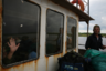 Архангельская область, Унская губа. Баржа, доставляющая грузы и людей в деревни, расположенные по Летнему берегу Белого моря.