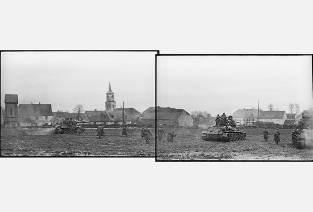 Танки идут в наступление. 1-й Украинский фронт, Германия, март 1945 года.
