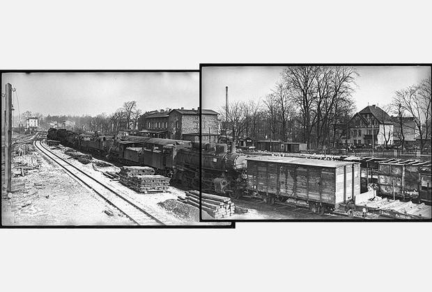 Эшелоны и паровозы, брошенные немцами на станции Любен (Западный Бреслау). 1-й Украинский фронт, февраль 1945 года.