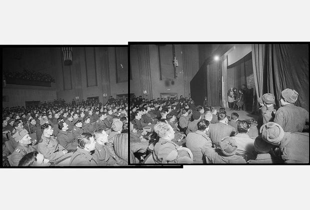 Спектакль фронтового филиала театра им. Вахтангова в Бреслау. В большом концертном зале Бреславского радиоцентра почти каждый вечер проходит представление для участников штурма Бреслау. 1-й Украинский фронт, 20 марта 1945 года.