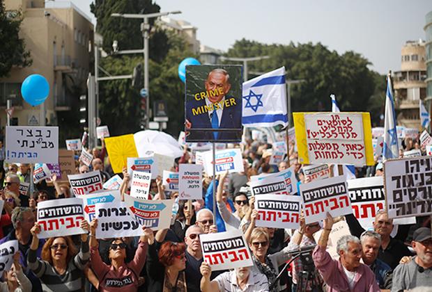 Акция протеста против коррупции и премьер-министра Нетаньяху в Тель-Авиве, февраль этого года