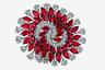 Кольцо из белого золота из коллекции Infinia украшают рубины огранки «маркиза» общим весом чуть меньше 13 карат и бриллианты классической огранки общим весом около 5 карат.