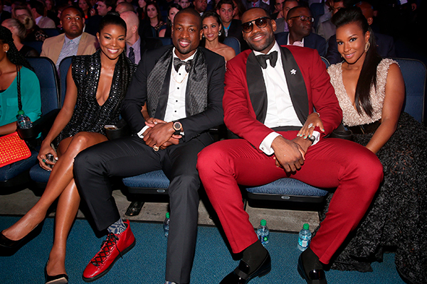 LOS ANGELES, CA - JULY 17:  (L-R) Actress Gabrielle Union, NBA player Dwyane Wade, NBA player LeBron James, and Savannah Brinson attend The 2013 ESPY Awards at Nokia Theatre L.A. Live on July 17, 2013 in Los Angeles, California.  (Photo by