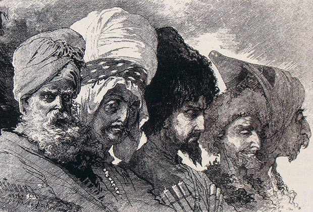 М.Микешин. Два курда-чертопоклонника (езиды), кабардинец, чеченец и курд-магометанин из окрестностей Вана. Рисунок 1876 года