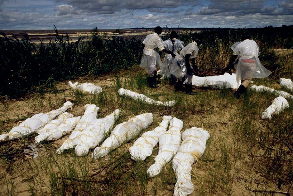 Угандийские рыбаки вылавливают тела руандийцев, принесенные рекой Кагера в озеро Виктория