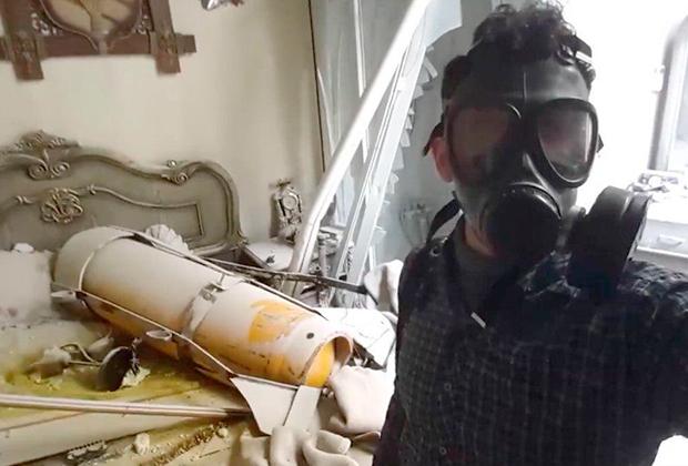 Предполагаемое место разрыва снаряда с химическим веществом в городе Дума
