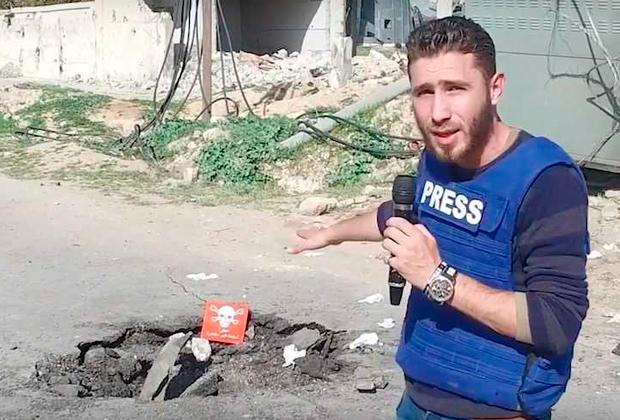 Оппозиционный репортер на месте химической атаки
