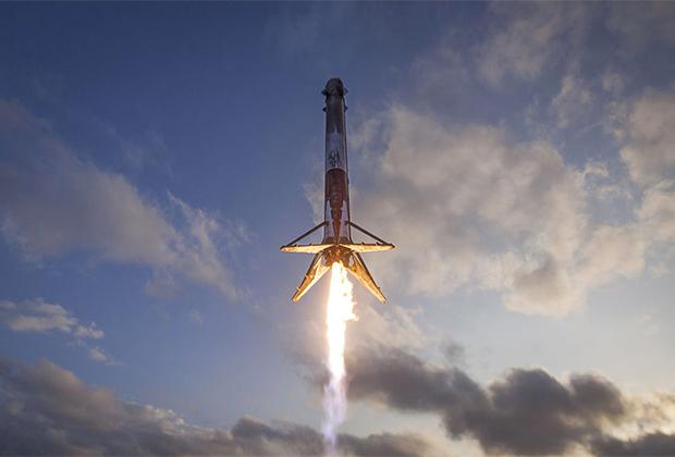Посадка первой ступени ракеты Falcon 9