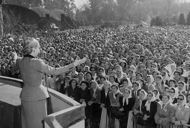 Эва активно выступала перед трудящимися женщинами