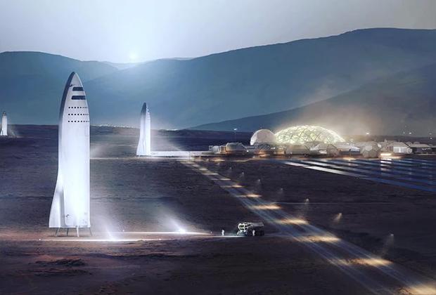 Корабль BFR на Марсе (в представлении художника)