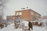 Ненцы, приехавшие навестить детей, оставляют сани и оленей во дворе школы-интерната.
