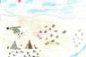 Рисунок воспитанника школы-интерната. Дети часто изображают тундру в подобном стиле, иногда рисуют и вертолет. Их отправляют из тундры в интернат на вертолете, поэтому его появление— важное событие их жизни.