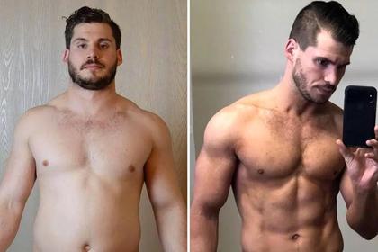 Полный американец превратился в мускулистого атлета за три месяца