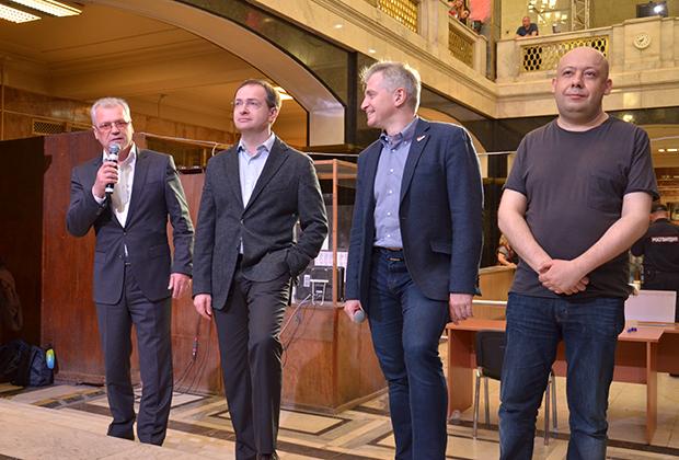 Слева направо: Владимир Гнездилов, Владимир Мединский, Александр Кибовский, Алексей Герман-младший