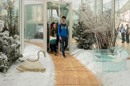 В Милане обнаружили снег в апреле