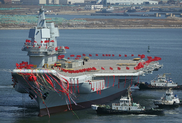 Авианосец ВМС Китая проекта 001A спущен на воду в апреле 2017 года. Корабль, созданный по примеру Liaoning исключительно силами Китая, является вторым авианосцем в стране. Боевой корабль, названный, предположительно, в честь рака-богомола 皮皮虾 (то есть Pipixia — по системе Палладия произносится как «Пипися»), должен вступить на дежурство не ранее 2020 года. По сравнению с Liaoning новый авианосец должен получить улучшенное вооружение, однако у него осталась практически та же короткая взлетная полоса. На корабле предусмотрено размещение до 48 самолетов и вертолетов. Водоизмещение корабля — 55-70 тысяч тонн, длина — 315 метров, ширина — 75 метров. Максимальная скорость составляет 31 узел.