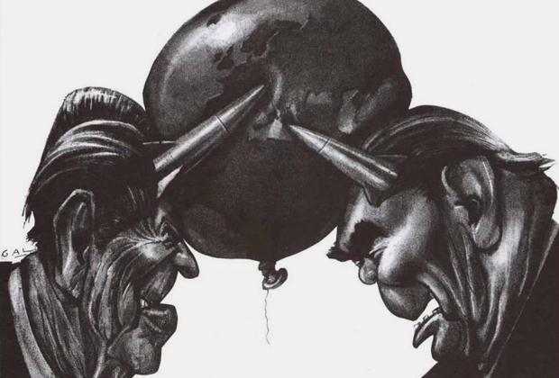 Карикатура в западной прессе: «Брежнев и Рейган в своем противостоянии готовы разорвать земной шар», 1981 год