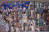 Мозаичное искусство не обошло стороной и Южно-Сахалинск. У местной мэрии стоит мемориальный комплекс, состоящий из нескольких стел с мозаиками, на которых изображены основные профессии Сахалина. Судя по всему, это оленевод, строитель и моряк.