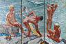 Это мозаика «Хорошее утро» из серии «Люди страны Советов» художника Александра Дейнеки. В 1964 году за это и другие панно («Хоккеисты», «Доярка», «Красногвардеец») его удостоили Ленинской премии. Искусствоведы полагают, что это конкретное изображение пропагандировало спорт и здоровый образ жизни в целом. Сейчас «Хорошее утро» можно увидеть в Третьяковской галерее.