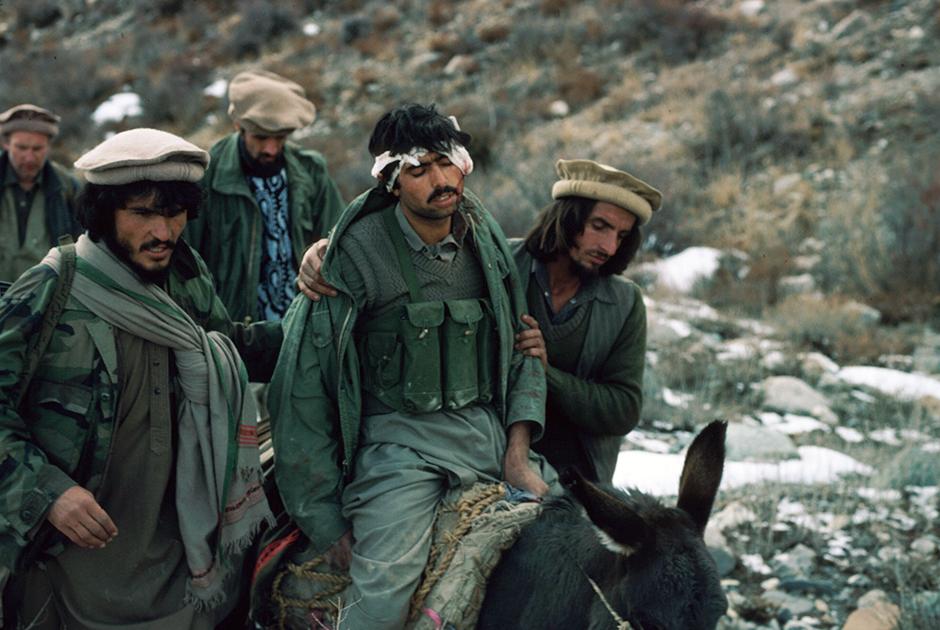 Раненого моджахеда доставляют в лагерь на осле