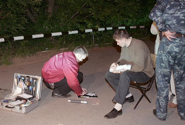 Осмотр следственной группой места убийства главного редактора русского издания журнала Forbes Пола Хлебникова