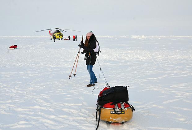 Корреспондент «Вечерней Москвы» Евгения Стогова на Северном полюсе
