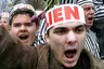 Акция протеста защитников русских школ в Риге