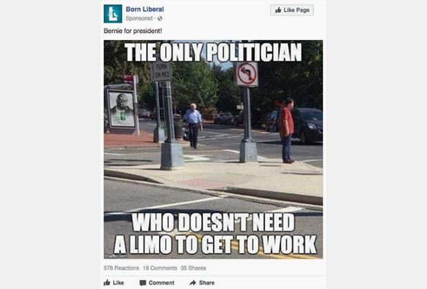 Реклама в поддержку претендента от Демпартии Берни Сандерса, который добирается до работы своим ходом