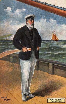 Подворачивать брюки Эдуард начал еще в статусе принца Уэльского, но и став королем не прекратил. Эта картина была написана в 1905 году, Эдуард VII изображен за штурвалом яхты.