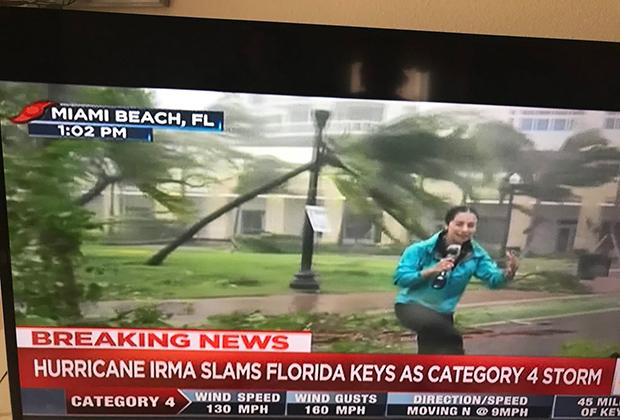 Корреспондент новостного канала рассказывает об урагане, находясь в эпицентре событий