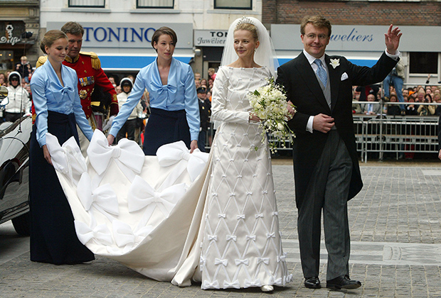 Мейбл Виссе Смит и принц Йохан Фризо Оранско-Нассауский на свадьбе в Дельфте (Голландия)