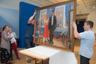 В 1920-е художник начал обращаться к сюжетам советской действительности.  Герои нового времени запечатлены на многих картинах мастера— в частности, на этом полотне из собрания ГЦМСИР.
