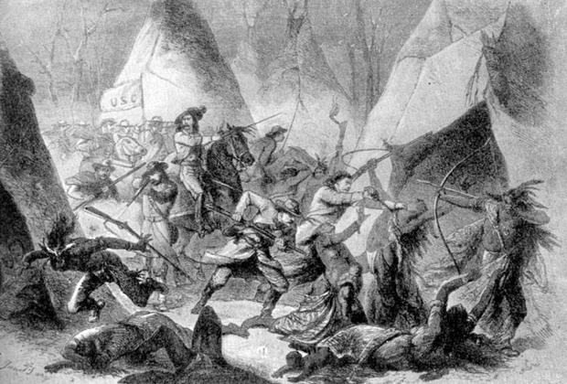 Сражение американцев с индейцами у Уошито (на границе с Канадой) в 1868 году