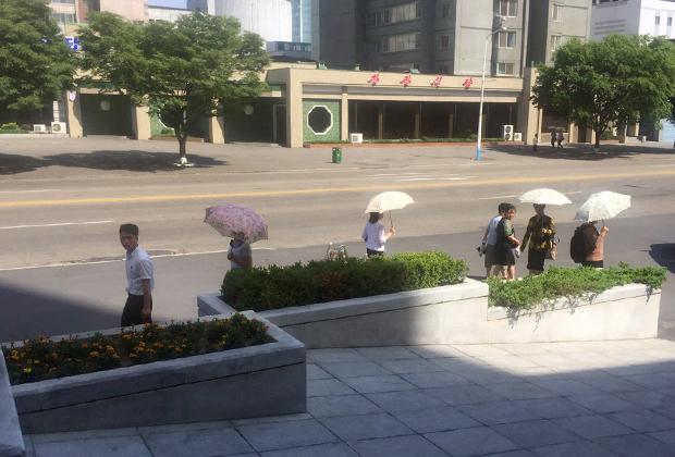 Жительницы Пхеньяна укрываются от зноя под гламурными зонтами