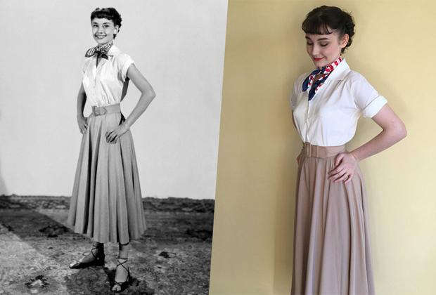 """К моменту выхода романтической комедии «Римские каникулы» в 1953 году Эдит Хэд была известна как один из лучших художников по костюмам в Голливуде. Эскизы одежды главной героини фильма, юной принцессы Анны, были готовы еще до встречи дизайнера с Одри Хепберн — тогда еще совсем молодой и малоизвестной актрисой. Это расстроило Хепберн, однако профессионализм Эдит Хэд превзошел все ожидания: модельер мастерски выделила все самое лучшее в фигуре артистки и скрыла ее «проблемы». В то время все красавицы Голливуда стремились к пышной груди и узкой талии Элизабет Тейлор. Длинная расклешенная юбка с поясом подчеркнула талию Одри Хепберн, а свободная рубашка скрыла ее небольшую грудь и худые руки.  Компания <a href=""""https://www.etsy.com/listing/274936416/audrey-hepburn-fashion-roman-holiday?ga_order=most_relevant&ga_search_type=all&ga_view_type=gallery&ga_search_query=roman%20holiday%20dress&ref=sr_gallery-1-2"""" target=""""_blank"""">Etsy</a>, специализирующаяся на изделиях ручной работы и винтажных вещах, предлагает похожий костюм за 100 долларов."""