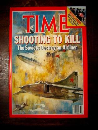 Обложка журнала Time за сентябрь 1983 года с заголовком:«Стрельба на поражение. Советы уничтожили авиалайнер»