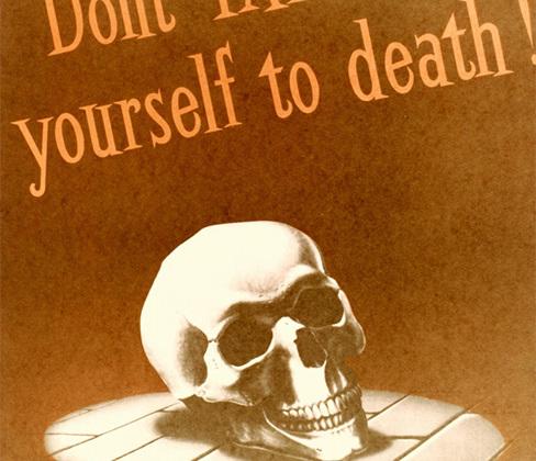 Плакат с призывом к гражданам не делать публичных заявлений, представляющих интерес для врага, поскольку это может стоить им жизни. <br> <br> <i>«Не заболтайся до смерти!»</i>