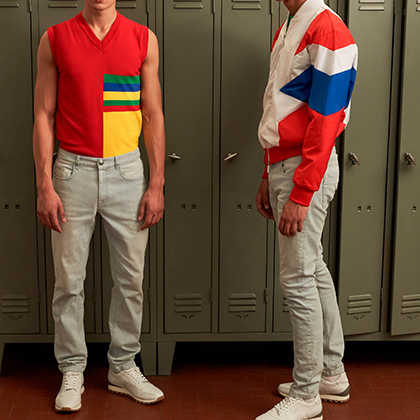 Коллекция мужской одежды и обуви в цветах флагов-стран участниц чемпионата, в том числе и российского триколора. В нее вошли cпортивные костюмы, жилеты-пуховики, шорты, футболки и кроссовки в ретростиле с надписью Russia 2018.
