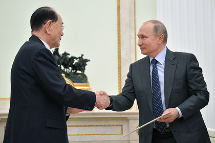 Ким Ён Нам и Владимир Путин