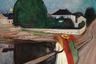 Серию «Девушки на мосту» Мунк начал на рубеже XIX и XX веков в городе Осгорстранне, где он проводил лето. Наброски художник делал с местных школьниц. Одна из версий «Девушек на мосту» находится в Пушкинском музее в Москве.