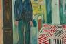 Автопортрет был закончен в 1943 году, незадолго до смерти Мунка — в последние годы он жил в оккупированной нацистами Норвегии в постоянной тревоге, и вероятно, чувствовал приближение конца. Он изобразил себя в переходном состоянии между болезнью и смертью, которую, вероятно, воплощает кровать, и то ли безвременьем, то ли вечностью, которые символизируют часы — без стрелок.