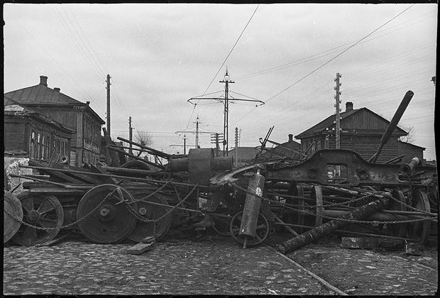 Баррикады на улице Коммунаров в Туле, 1941.