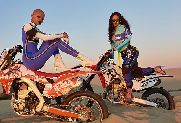 Далеко не все модные бренды хотят ассоциироваться с пузатыми мужиками в кожаных куртках. Например, совместная коллекция Fenty X Puma была вдохновлена мотокроссом, а часть моделей во время показа выехали на подиум в седле мотоциклов.