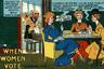 Одна из известных антисуфражистских карикатур под названием «Дом суфражистки» показывала мрачного мужа, возвращающегося в дом. В комнате беспорядок, плачущие дети, коптящая лампа и пришпиленная к суфражистскому плакату записка «вернусь через час, или около того». Карикатура отражала витающую воздухе идею о том, что право голоса для женщин — только верхушка айсберга. Дальше будет хуже, и радикальные феминистки разрушат весь домашний уклад.