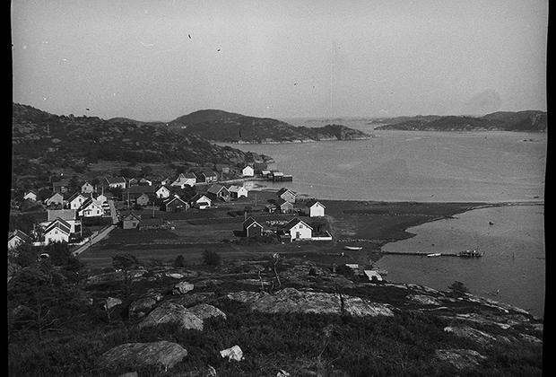 Панорама берега, где базировались немецкие подразделения. Норвегия, 1940 год.