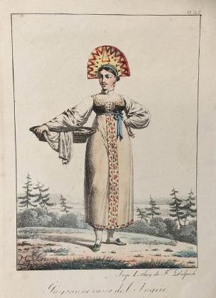 Русская крестьянка в национальном костюме (гравюра XIX века)