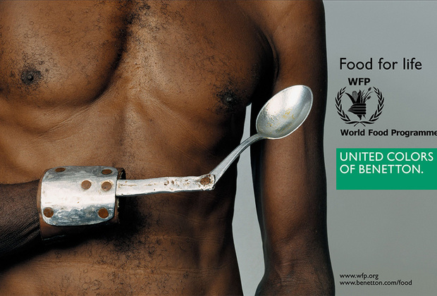 Кампания 2003 года Food for Life («Еда для жизни») проходила в сотрудничестве с World Food Programme. Самый шокирующий снимок изображал чернокожего истощенного человека с самодельным протезом руки, завершающимся ложкой.