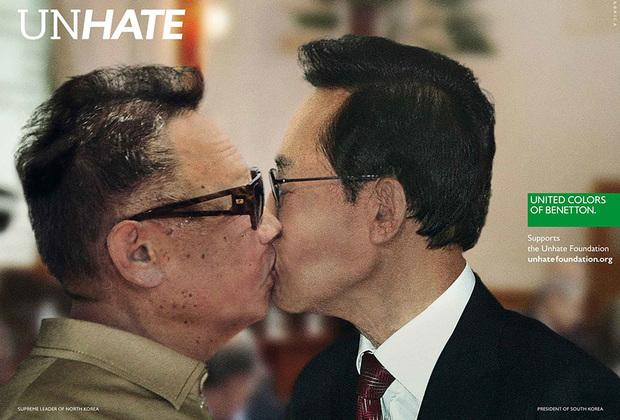 Самыми, пожалуй, скандальными плакатами из серии UnHate в 2011 году стали монтажи фото мировых политических и религиозных лидеров, слившихся в горячем товарищеском поцелуе. Целоваться заставили Саркози и Меркель, Ким Чен Ира и Ли Мен Бака, Обаму и Уго Чавеса и другие «парочки» непримиримых. Тему явно подсказал знаменитый снимок Брежнева и Хонеккера, воспроизведенный на граффити на Берлинской стене.